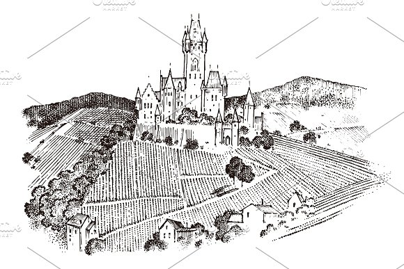 Castle On A Hill Ancient Landscape For The Label Engraved Hand Drawn Sketch In Vintage Victorian Style Travel To Europe To The Historic Building