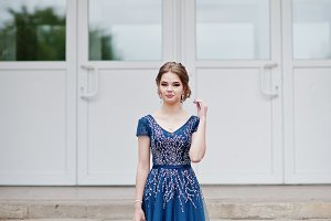 Portrait of young girl on prom day