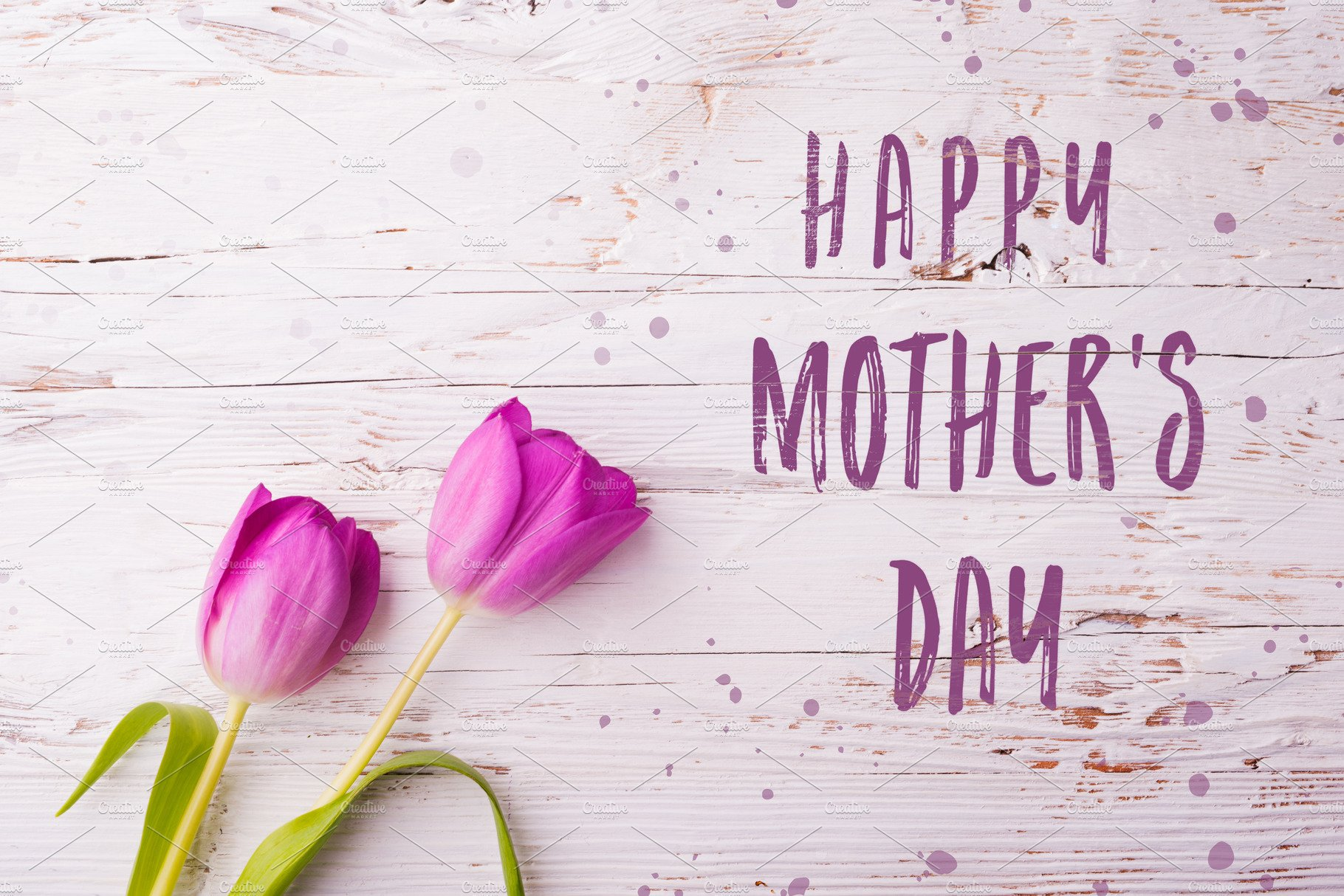Happy Mothers Day Sign And Flowers Composition Studio Shot