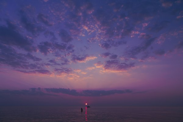 Purple sunset in the Baltic