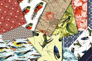 Digital paper antique birds 1