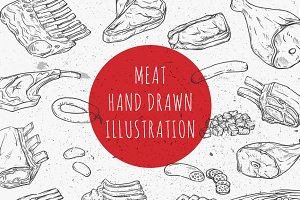 Meat hand drawn vector