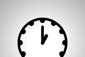 Clock face showing 1-00, simple icon