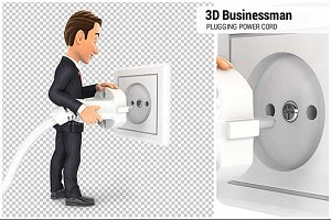 3D Businessman Plugging Power Cord