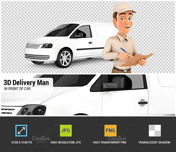 3D Delivery Man With Notepad