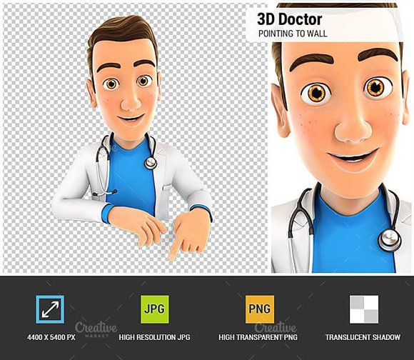 3D Doctor Pointing To Empty Wall