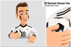 3D German Soccer Fan Pointing