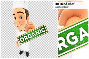 3D Head Chef Organic Stamp