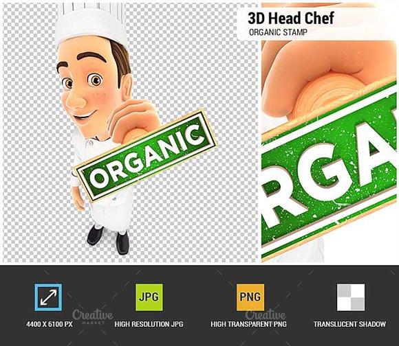 3D Head Chef Organic Stamp