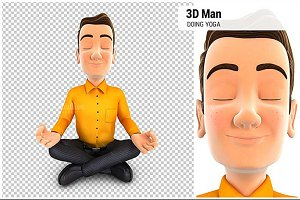 3D Man Doing Yoga