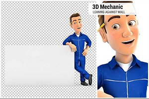 3D Mechanic Leaning Against Wall