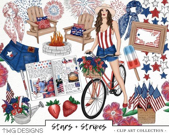 Americana Fashion Girl Clip Art