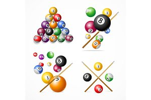 Realistic Detailed 3d Billiard Set.