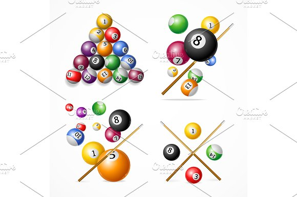 Realistic Detailed 3D Billiard Set