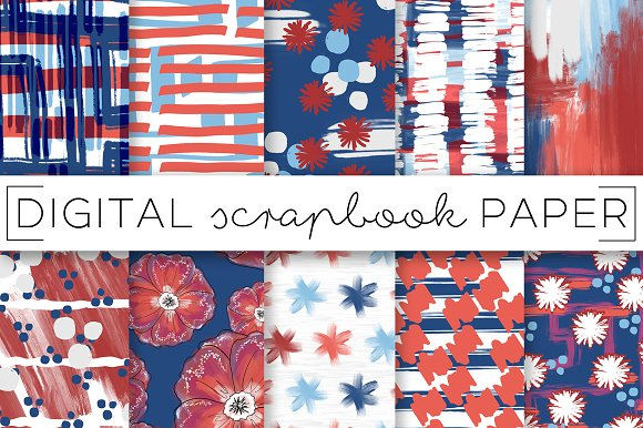 Red White Blue Digital Paper