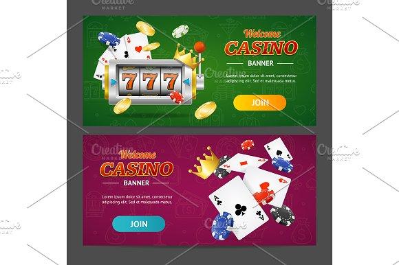 Realistic Casino Banner Set Vector
