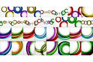 Mega collection of swirls and circles geometric abstract backgrounds, posters