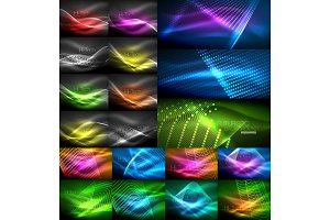 Mega collection of neon glowing shiny light backgrounds