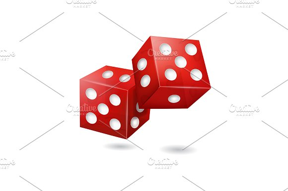 Realistic 3D Red Casino Dice Vector