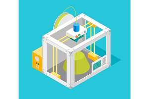 3d Printer Flat Design Isometric