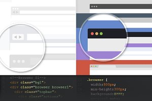 Pure CSS3 Flat Browser frames