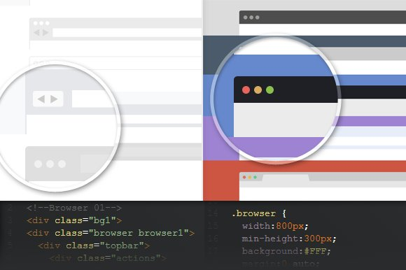 Pure CSS3 Flat Browser frames ~ Website Templates ~ Creative Market