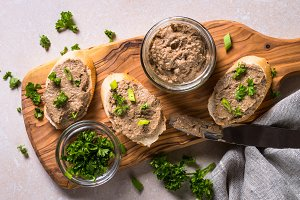 Pate from beef liver top view.