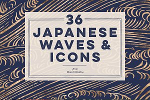 36 Japanese Wave & Gold Icons