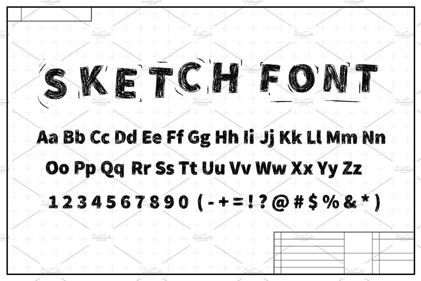 Black sketch font on blueprint plan symbol fonts creative market malvernweather Image collections