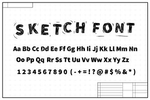 Black sketch font on blueprint plan