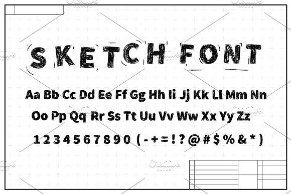 Black sketch font on blueprint plan