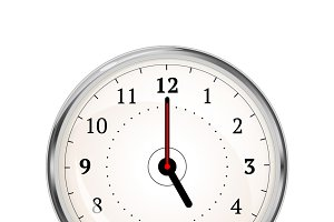 Realistic clock face showing 05-00