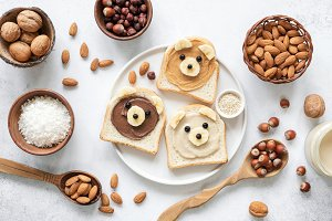 Nut butter banana toast for kids