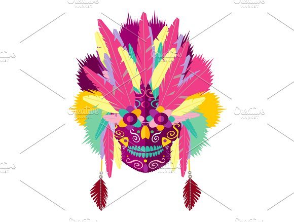 Indian Skull Pink Feathers