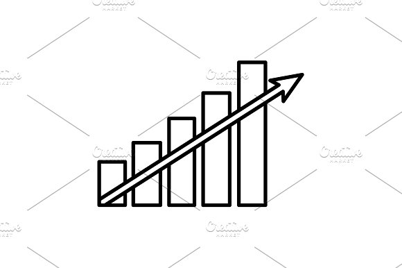 Vector Growing Graph Line Icon Black