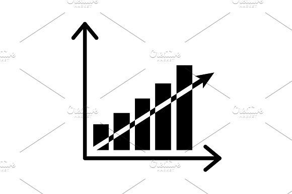 Vector Growing Graph Icon Black