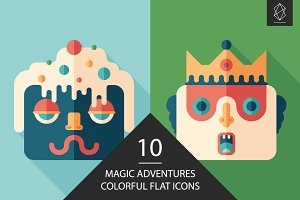 Magic adventures flat square icons