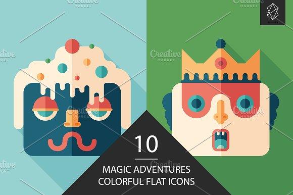 Magic Adventures Flat Square Icons