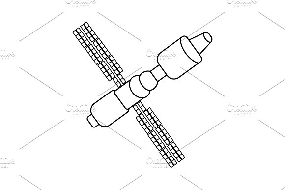 Satellite Sign Line Icon Vector
