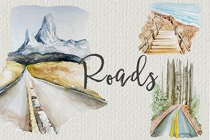 Watercolor Roads Clipart Set