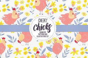 Cheeky Chicks + 16 Seamless Patterns