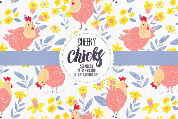 Cheeky Chicks 16 Seamless Patterns