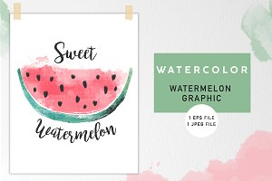 Watercolor Watermelon Graphic