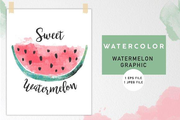 Watercolor Watermelon Graphic