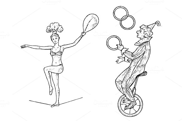 The Clown On The Wheel Juggles With Skittles Or Balls On White Background Street Actor Or Artist In Circus Performer Acrobat Engraved Hand Drawn Sketch In Vintage Victorian Style