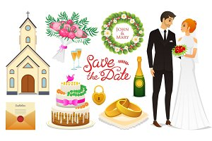 Bride And Groom. Wedding ceremony Set. Newlyweds icons. vector illustration. Married couple, summer. Vintage rustic cake and rings, bouquet, flowers and church, shoes and champagne, wreath and letter.