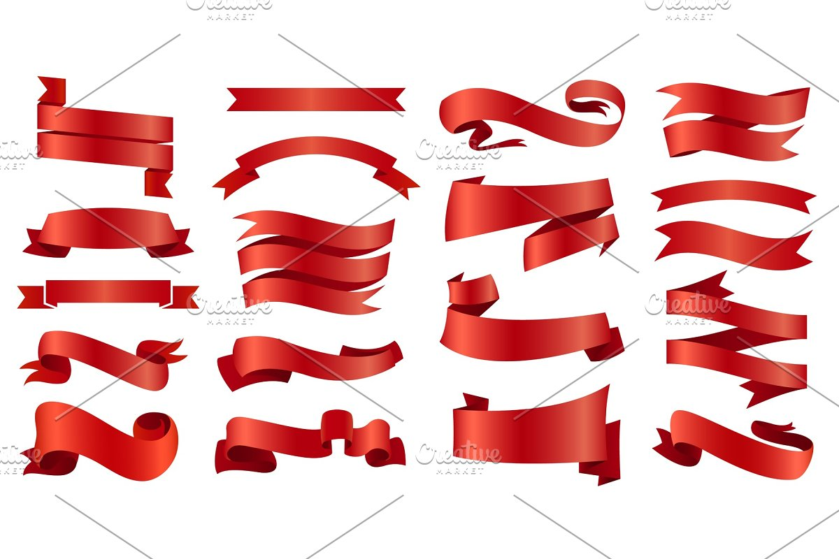 Ribbons Banners Illustration Set And Tape Isolated On White Background Red Vintage Details For Wedding Card And Lettering Decor For Holiday
