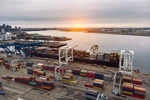 Commercial cargo vessel in dock