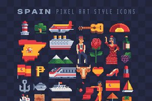 Pixel art Spain icons set.