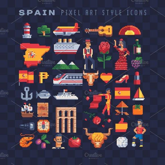 Pixel Art Spain Icons Set